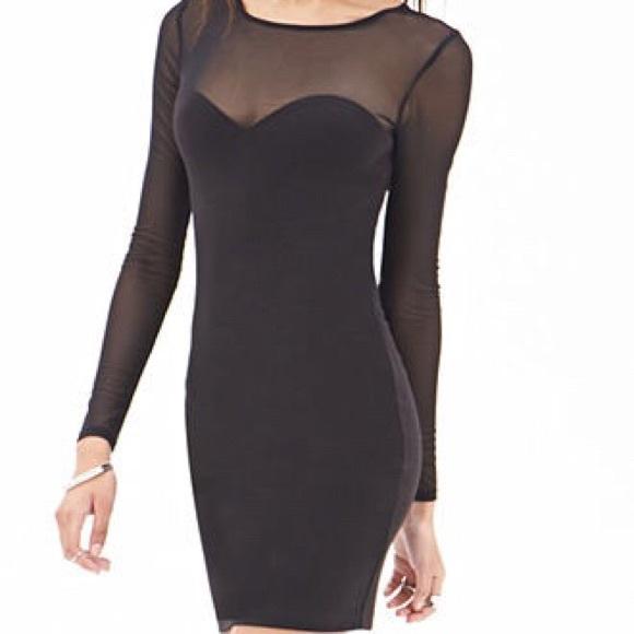 Forever 21 Dresses Short Black Body On Dress With Mesh Sleeves